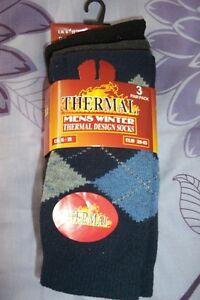 1 Pack De 3 Hommes Chaussettes Thermiques 6-11 Bnwt