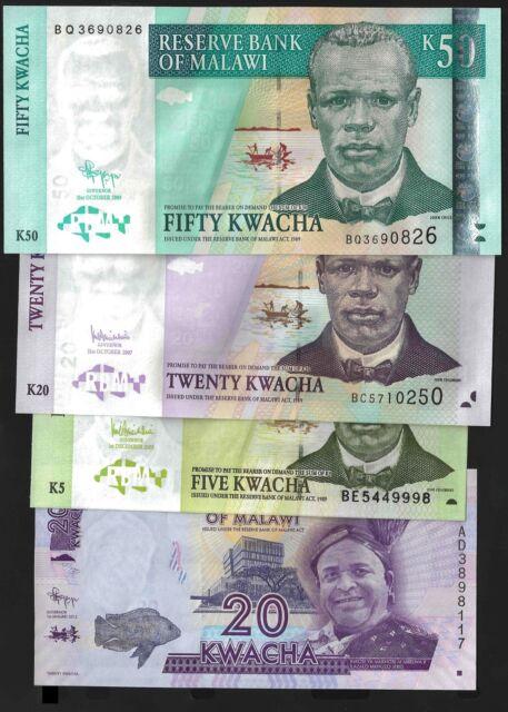 Malawi Diff. BANKNOTES 2005-12 LOT X 4 PCS UNC