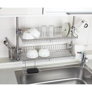 Details about Stainless 2 Layers Premium One Touch Multi Sink Rack Shelf  Series for Kitchen