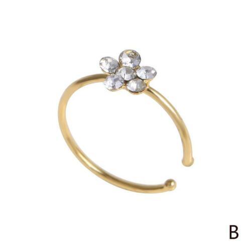 Women Flower Nose Ring Fake Hoop Rhinestone Body Piercing Charm Jewelry Gift HOT