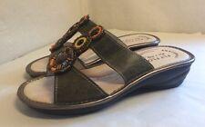 Leather Beaded Slip On Sandals By FLYFLOT Anatomic Anti-Shock Size 4 UK 37 EUR.