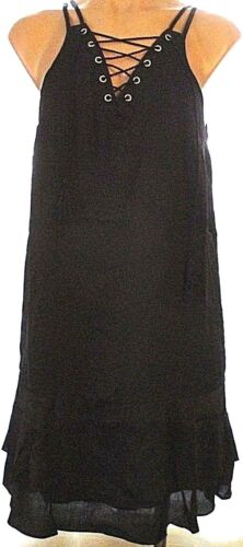 New Mossimo spaghetti strap ruffled drop waist lined shift sun dress Black green