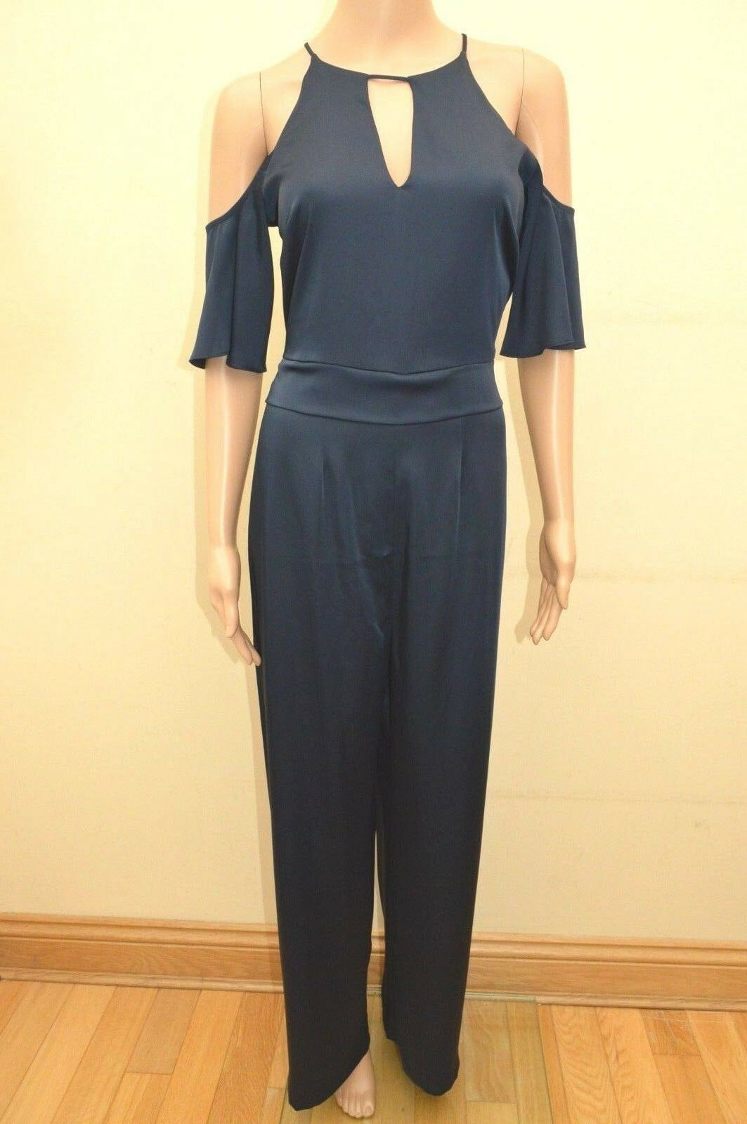New Next Navy bluee Satin Belted Cold Shoulder Jumpsuit Sz reg