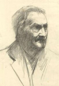 Ellen M. Murray Thomson, Male Portrait Head Study – Early 20th-century drawing