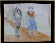 Hand-Drawn:  Man and Woman Walking, Magic Lantern Glass Slide