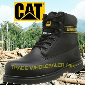 04ffb3cb2395 CATERPILLAR HOLTON BLACK STEEL TOE CAP SAFETY WORK BOOTS CAT-SHOES ...