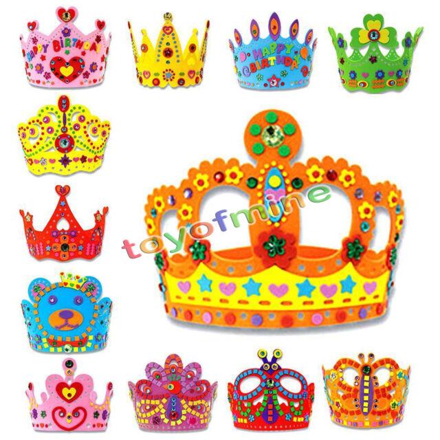 Children Kids Handmade 3D Crown Craft Kit Birthday Party Hat Educational DIY Toy