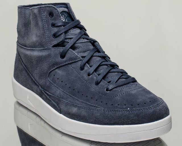 sale retailer ba1bd 60388 Mens Nike Air Jordan 2 Retro Decon Thunder Blue Hi Top Trainers 897521 402  UK 10