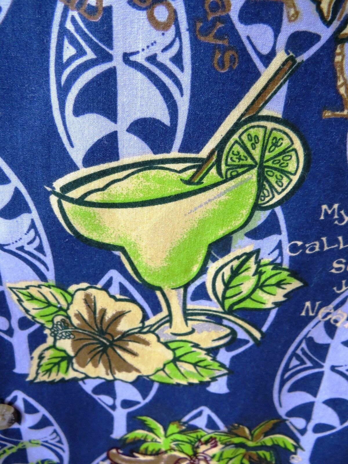 Sz M - JIMMY BUFFET Margaritaville Hawaiian Aloha Shirt Wahine Hula Girls Tiki