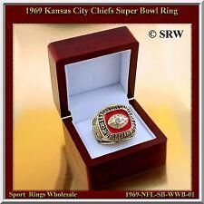 1969 Kansas City Chiefs Super Bowl Championship Ring Wood Box & Pouch S-11.5
