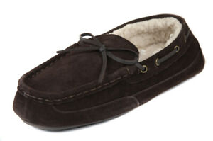 Rockport-Men-039-s-Brown-Suede-Faux-Fur-Lined-Moccasin-Slippers-Shoes-Ret-75-New