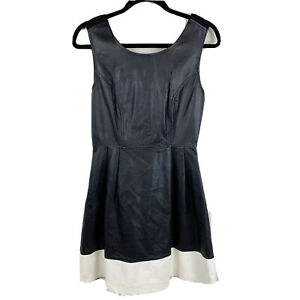 Glassons-Women-039-s-Size-10-Faux-Leather-Fit-and-Flare-Dress