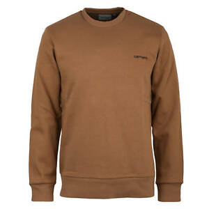 0ebd09baffcf Image is loading Carhartt-Wip-Script-Embroidery-Sweat-Sweater-Brown-Sweater-