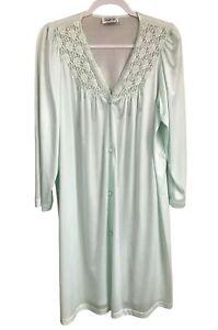 Vanity Fair Vintage Light Green Nylon Button Front Housecoat Robe Medium Pocket