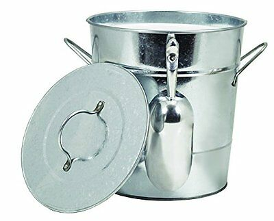 TWINE Galvanized Steel Ice Bucket with Removable Lid and Ice Scoop