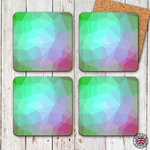 Geometric Colour Coaster Set Modern Contemporary Design Set of 4 Gift Idea