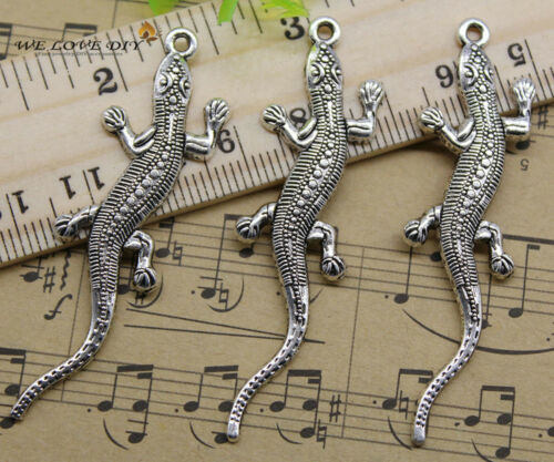 4~100pcs retro Jewelry Making DIY Lizard alloy charms pendants 56 x 15 mm