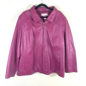 PRESTON-amp-YORK-Womens-Purple-100-Lambskin-Leather-Lined-Full-Zip-Jacket-Coat-3X