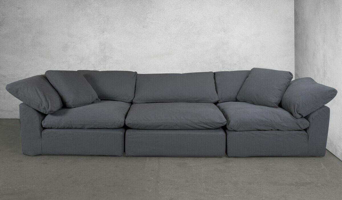 Sunset Trading Cloud Puff Modular Sofa Slipcover Performance Fabric Grey 3  Piece