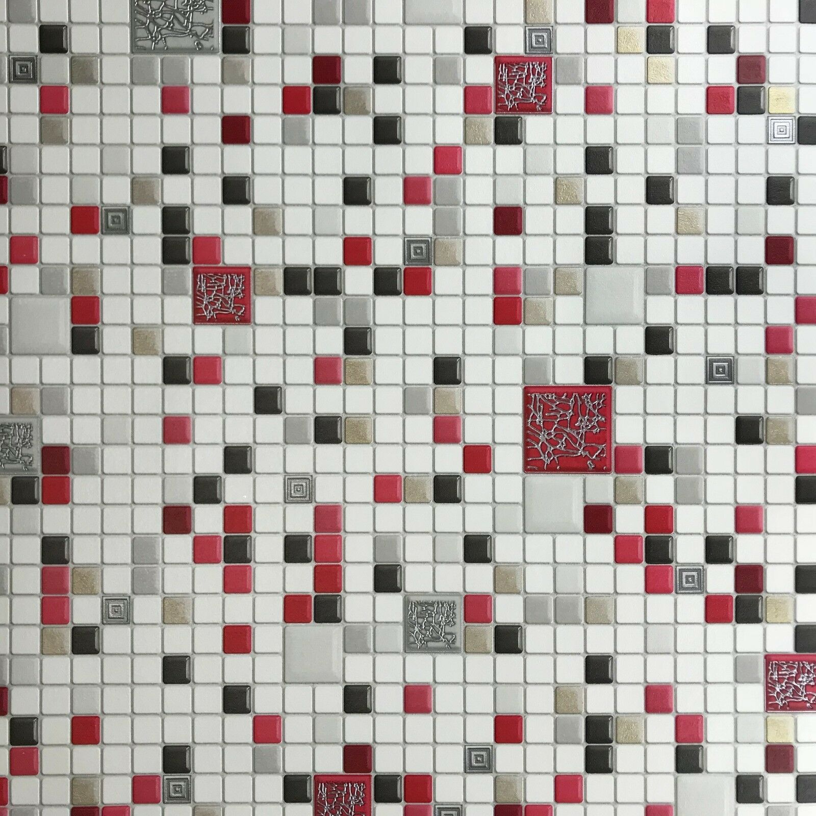 Modern Wallpaper Wall Coverings Textured Mosaic Tile White Red Rolls 3d Covering