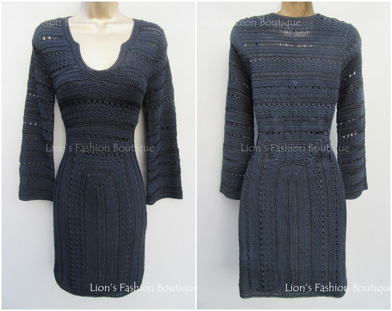 New KAREN MILLEN schwarz BNWT  Crochet Knit Evening Bodycon Bandage Dress