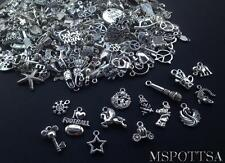 100pcs Mixed Piece Silver Loose Charms Pendants Jewelry Beads Wholesale Bulk Lot