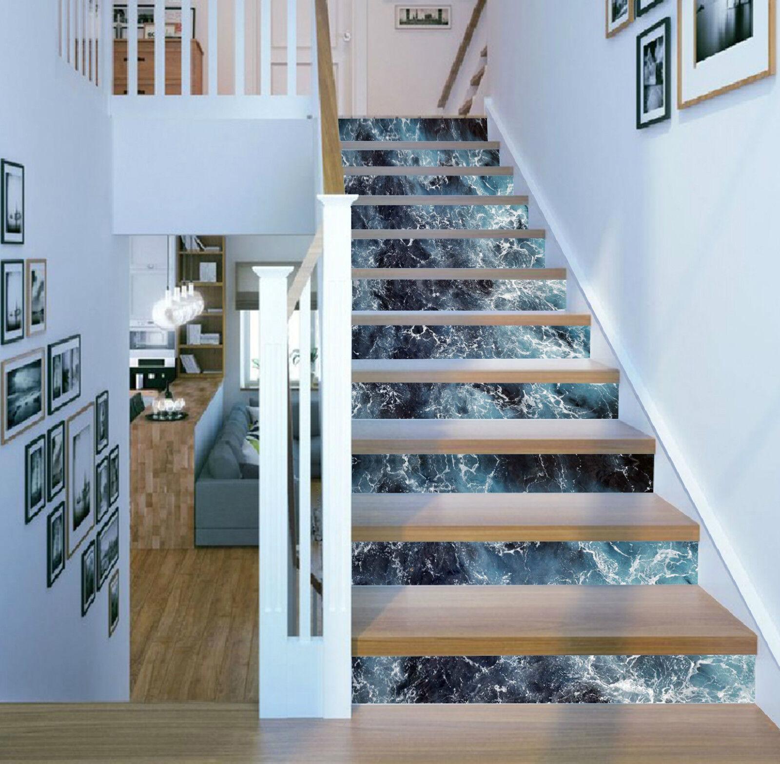 3D Meer Billows 256 Stair Risers Dekoration Fototapete Vinyl Aufkleber Tapete DE