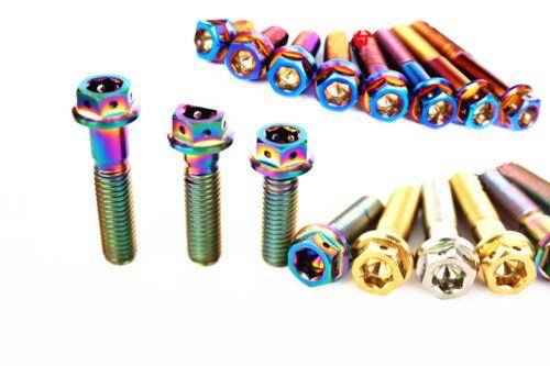 4Pcs M6 x 10//15//20//25//30//35//40//45//50mm Motorcycle Titanium Flange Bolts Screws