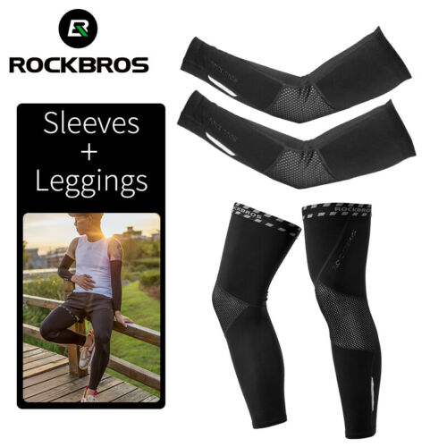 ROCKBROS Cycling Fleece Warm Arm Sleeves /&Leg Covers Breathable Sports Fitness