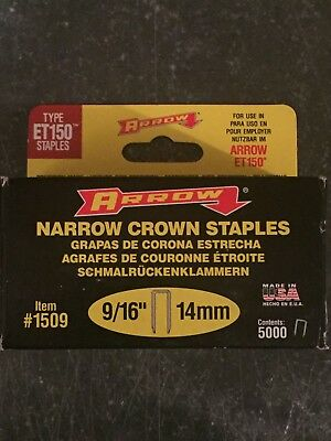 Arrow Fastener 1508 Genuine ET150 1//2-Inch Staples 5,000-Pack