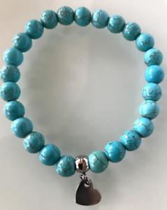 UK-Beautiful-Turquoise-Silver-Love-Heart-Crystal-Gemstone-Bead-Bracelet-Reiki