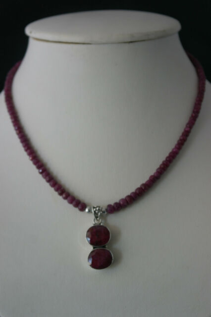 Beautiful Necklace With Faceted Indian Ruby And 925 Silver Pendant In Gift Box