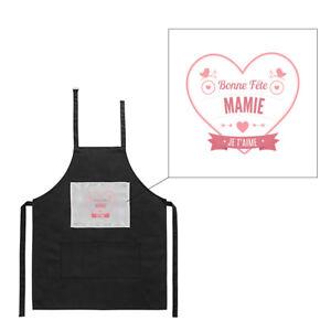 Détails Sur Tablier Noir De Cuisine Barbecue Bonne Fête Mamie Coeur Rouge Imprimé