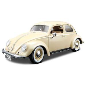 VW-VOLKSWAGEN-BEETLE-echelle-1-18-Diecast-Voiture-Modele-die-cast-models-Creme-Jouet