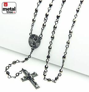 NEW-Men-039-s-Fashion-4mm-Bead-Guadalupe-amp-Jesus-Cross-25-034-Rosary-Necklace-HR-700-HE