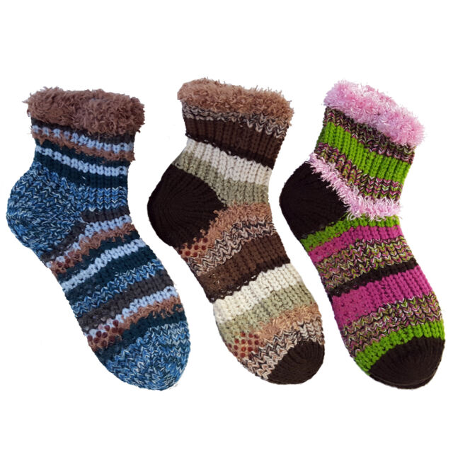2 Pack: Ladies Crochet Ankle Socks with No Skid Grip in Assorted Colors