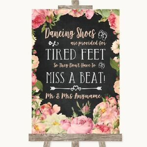 584b95b6ecf40d Image is loading Wedding-Sign-Chalkboard-Style-Pink-Roses-Dancing-Shoes-