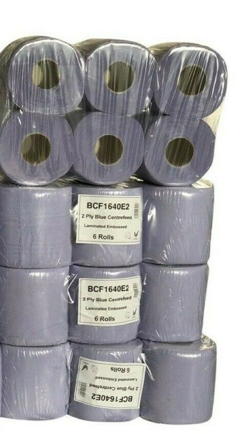 24 Rolls (4 PACKS) Blue Centre feed Rolls Embossed 2ply Wiper Paper Towel 40M