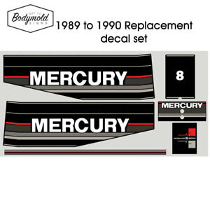 Mercury-Outboard-decals-1990-8HP-Replacement-decals