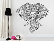 Indian Elephant Mandala Hippie Wall Art Vinyl Sticker Decal Mural Wedding Gift