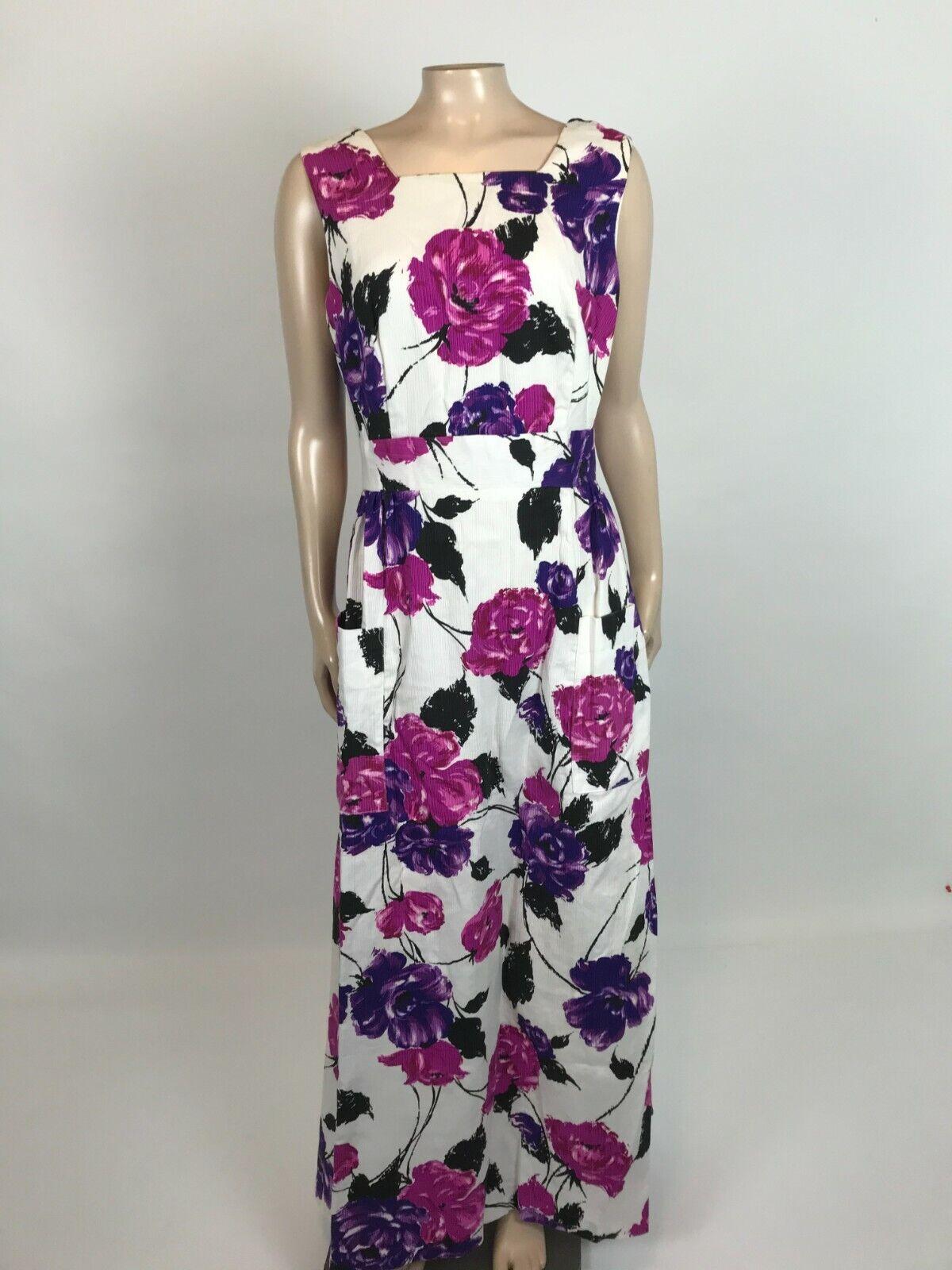 Vintage 70's Montgomery ward Women's Dress Party Maxi POCKETS Floral Purple ZZ8