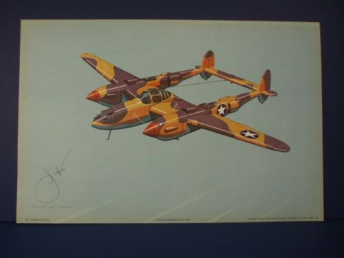 Lockheed P-38 Lightning WWII Airplane Print by Harry Jaffee Rudolf Lesch N.Y.