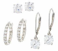 Diamonique Set Of Three Earrings, Sterling