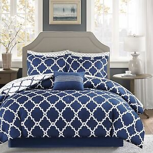 Geometric Chic Design Navy White Reversible Cal King Queen