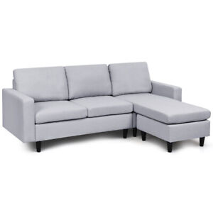 Convertible Sectional Sofa Couch Fabric L-Shaped Couch w/Reversible Chaise Gray