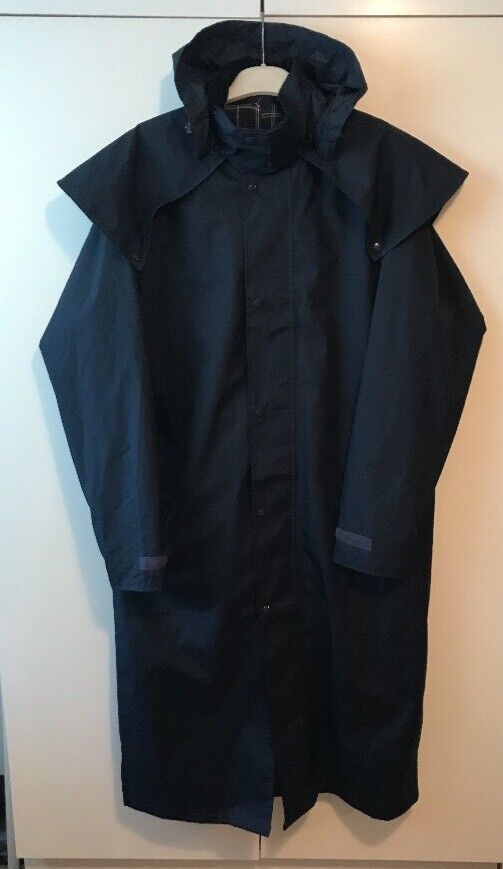 Cotton Traders Size L Long Navy Waterproof Mens Coat