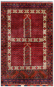 Red 4 X 6 Afghan Rug Hand Knotted