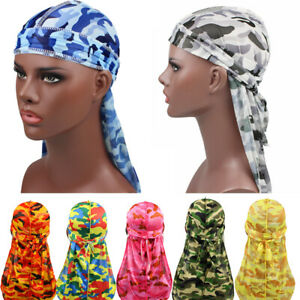 Bandana Hair Accessories Camo Durags  Headband  Men/'s Silky Turban Pirate Hat