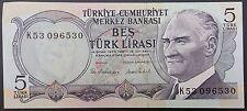 Turkey 5 Lira Note, 1970 , Beş Türk Lirasi, Serial K53096530.