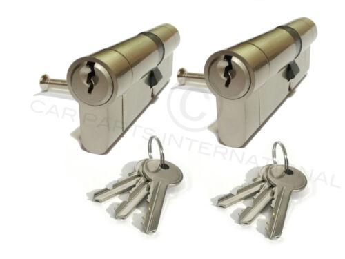 2 x Secure Euro Door Locks 35//55 NICKEL Finish Keyed Alike 3 Keys Per Lock